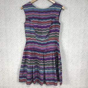 Shoshanna Silk Geometric Rainbow Sleeveless Dress
